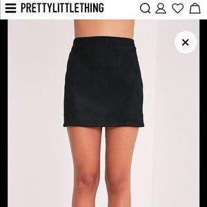 Lauree Black Faux Suede Mini Skirt